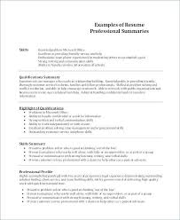 Resume Summary Of Qualifications Samples Magnificent Sample Professional Summary Resumes Colbroco