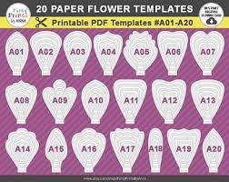 Paper Flower Print Out Paper Flower Template Etsy