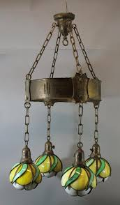 antique arts crafts secessionist copper chandelier w leaded glass shades nr 1833347543