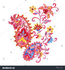 Graphic Design Paisley Colorful Ornate Indian Paisley Design Elements Indian Ornate