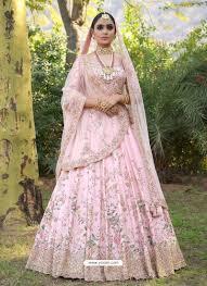 Light Pink Indian Wedding Dress Baby Pink Silk Heavy Embroidered Designer Wedding Lehenga