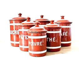 kitchen canisters red storage for with metal lids decor