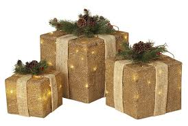 3 Light Up Christmas Boxes Set Of 3 Large Lighted Burlap Holiday Gift Boxes Indoor