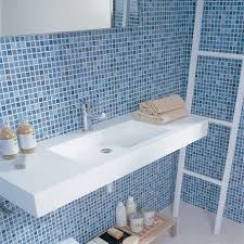 appealing tile bathroom. Appealing Flaoting Vanity Which Is Colored In White And Designed Modern Taste At Contemporary Bathroom With Mosaic Tile Concept