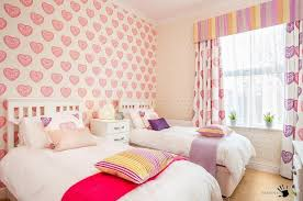Beautiful Pink Heart Wallpaper Decoration For Girls Room Along With Pretty  Twin Beds And Colorful Hearts