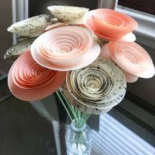 Paper Flower Centerpieces At Wedding Peach Paper Flowers Paper Anniversary Music Sheet