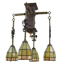 arts and crafts chandelier. Gothic Arts \u0026 Crafts Chandelier With Leaded Glass Shades And R