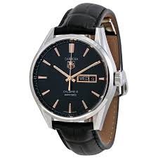 tag heuer carrera automatic black dial black leather mens watch zoom tag heuer tag heuer carrera automatic black dial black leather mens watch war201cfc6266
