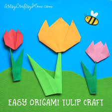 How To Make Flower With Paper Folding Easy Origami Tulip Craft For Kids Artsy Craftsy Mom