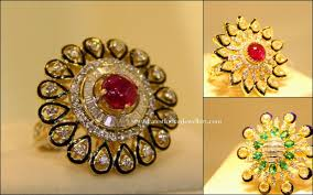 Traditional Ring Designs In Gold Diamond Kundan Cocktail Rings Gold Rings Jewelry