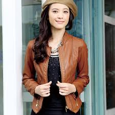 chic style brown leather motorcycle jacket for women