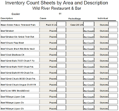 Restaurant Inventory Print Counting Sheets