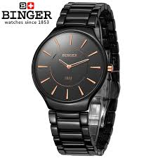 genuine swiss brand mens watch ceramic women quartz table binger genuine swiss brand mens watch ceramic women quartz table binger slim and stylish for couple watches shipping in lover s watches from watches on