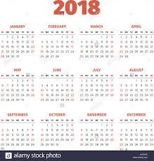 Simple 2018 Year Calendar Stock Vector Art Illustration
