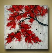 red tree branch original textured painting tree by brittsfineart