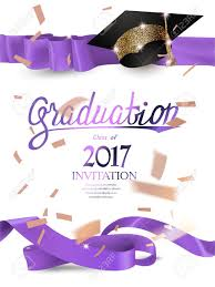 Invitation For Graduation 2017 Graduation Invitation Card With With Purple Curly Ribbons