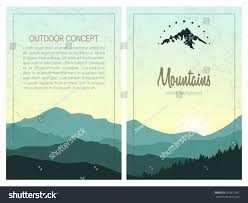 Set Stylish Outdoor Cards Template Vector Stock Vector