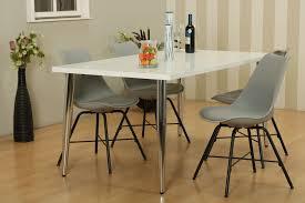 Paket 5tlg Essgruppe Esstisch 90x160 Esszimmer Stuhl Stühle Tisch Sitzgruppe Weiß Grau