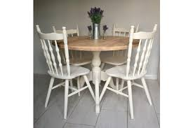 solid round pine dining table with 4 chairs photo 1