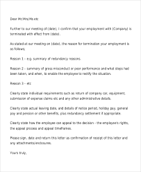 termination letter template employee termination letters free termination letter template