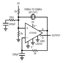 circuit collection oscillators lt1016 xtal oscillator 10 25 mhz