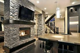 image of modern stacked stone fireplace design ideas