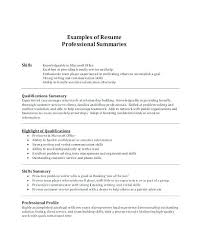 Example Of Resume Profile Resume Profile Summary Examples Resume Extraordinary Good Resume Summary