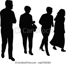 Four People Walking Silhouette Vector