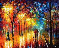 art famous artists biography official page gallery landscape park autumn fall trees scenery woods forest leaves path walkway night