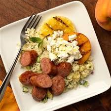 grilled peaches with kayem artisan pineapple uncured bacon sausage
