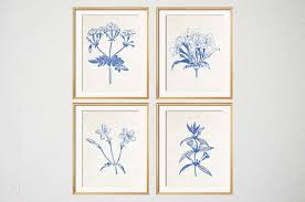 on blue and white wall art with blue white botanical wall art set of 4 prints blue botanical
