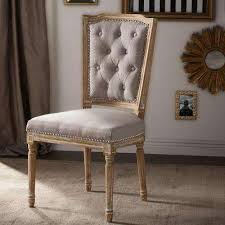 estelle beige fabric upholstered dining chair