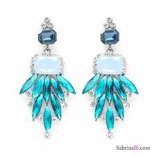 light blue crystals cascade chandelier earrings