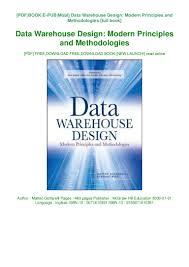 Warehouse Design Online Download Free Data Warehouse Design Modern Principles And