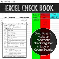 How To Make A Checkbook Register In Excel How To Make A Google Sheet Or Excel Checkbook Register Tpt
