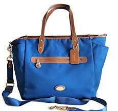 Coach Sawyer Signature Mineral Blue Baby Diaper Shoulder Bag Tote F37758