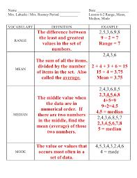 Mean Median Mode Range Definitions Worksheets for all | Download ...
