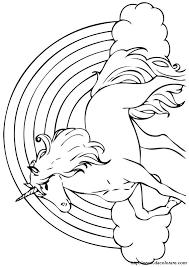 Colorare Unicorno Disegno Di Fronte A Un Arcobaleno