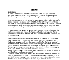 essay on holes by luis sachar gcse english marked by document image preview