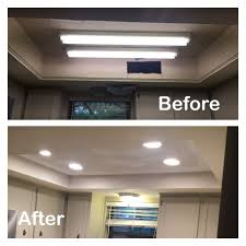 1970s kitchen light box before and after fluorescent light removed can lights added