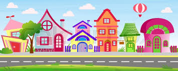 Vector Illustration Of Cartoon Houses Stock Vector