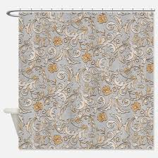 gold and silver shower curtain. elegant gold and silver scrolls shower curtain o