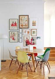 colorful kitchen colored chairs set up round dining table