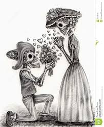Skull Art In Love Day Of The Dead Hand Drawing On Paper Stock