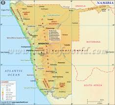 Namibia Distance Chart Namibia Map Map Of Namibia