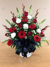 floral arrangement for church service church wedding flowers alter arrangement church flowers red white and black gerber daisies roses carnations snapdragons wedding flowers memphis tn more
