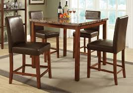 1perfectchoice 5 pcs counter ht dining set faux marble square table top w chair