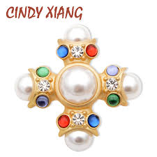 <b>CINDY XIANG Baroque</b> Style Large Cross Brooches for Women ...