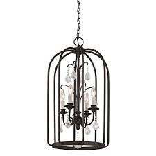 cage lighting. Aspen 4-Light Aged Bronze Cage Pendant With K9 Crystal Accent Lighting