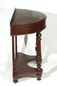 half round side table half circle mahogany side table with turned front legs and top storage